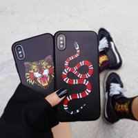 Wholesale iphone skin case design - Luxury Phone Case For Apple iPhone X 7 8 6s 6 Plus Cool Snake Cat Tiger Design Soft Silicone Cell Phone Case Covers Skins Fundas Capa Coque