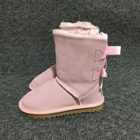 Wholesale borders australia - EU21 Kids Girls Ugs Australia Snow Boots Cute Bowtie Back Leather Waterproof Winter Short Boots Brand Ivg Fit For CM CM