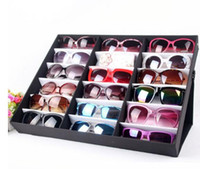 Wholesale sunglasses racks for sale - Group buy summer glasses display case woman man Sunglasses display rack black red sun glasses showing stand