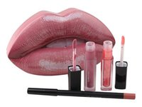 Wholesale mini lipstick gloss for sale - New Brand Makeup Set of lip pencil Mini Liquid lipstick Mini lip Gloss Big mouth set colors set with Metal Retail box
