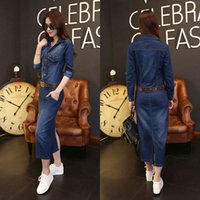 Wholesale Women Summer Jeans Dress - Hot Women Plus Size Summer Fashion European Long Sleeve Slim Full-Length Stylish Button Denim Jeans Brief Dress with belt