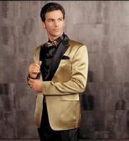 trajes de fiesta de oro negro esmoquin al por mayor-Chaqueta dorada con esmoquin negro de solapa Traje de boda Traje de novio barato Vestido de fiesta Traje (chaqueta + pantalones) Mades personalizados