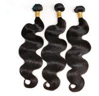 natürliche afro haar curl weben großhandel-3 Bundles Körperwelle Peruanische Haarverlängerungen Natürliche Farbe Menschenhaar Bundles Doppel Schuss Remy Haar