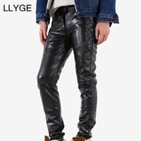 pantalones de cuero de la motocicleta al por mayor-LLYGE Mens Stitching Faux Leather Pants PU Material Negro Slim Skinny Fitness Motocicleta Leather zipper Pantalones para hombre