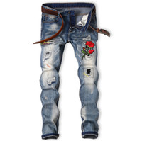 Wholesale rose skinny jeans online - Embroidered Mens Broken Jeans Vintage Red Rose Pencil Denim Pants Hole Scratched Skinny Pants