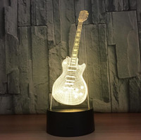 Wholesale table lamps for children - New Year Gift For Children Indoor Decoration 3D Guitar Shaped USB Night Light LED 7 Colors Flashing Kids Bedside Acrylic Table Lamp