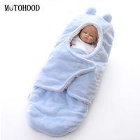 doble vellón al por mayor-MOTOHOOD Invierno Mantas de Bebé Nueva Espesar Doble Capa de Coral Fleece Swaddle Wrap Bebé Recién nacido Bebé ropa de cama Manta 0-12m