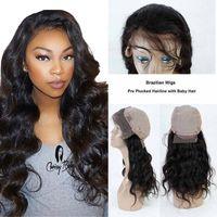 human hair wigs toptan satış-Siyah Kadınlar için brezilyalı İnsan Saç Dantel Ön Peruk Brezilyalı Vücut dalga Ön Koparıp Doğal Saç Çizgisi Dantel Ön Peruk Ile Bebek saç