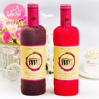 Wholesale Party Favor Washcloths - Wholesale- Creative Red Wine Bottle Shape Washcloth Towel Gift Bath Shower Face Soft Cotton Towel Present Box Wedding Cake Gift