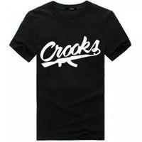 hip hop street mens ropa al por mayor-Crooks Print Mens Hip Hop Streetwear T-shirt Ropa de mujer de verano de manga corta Tees High Street Fashion Tees Top amantes de la camiseta