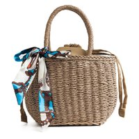 тканые шарфы оптовых-2018  Straw Bags Women Summer Rattan Bag Handmade Woven Beach Cross Body Bag with Scarf Casual Shoulder Beach Bags