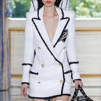 jackets rhinestones al por mayor-Nuevo con etiqueta de marca B Diseño original de primera calidad Mujeres de doble botonadura Hebilla de metal Rhinestone Blazer Tweed Slim chaqueta Outwear