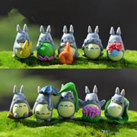 ingrosso figurine di plastica in miniatura-Mini Totoro Statue Miniature da giardino Figurine fai da te Micro Moss Decorazione paesaggistica Artigianato in plastica 100 pz / lotto T2I121