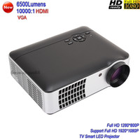 Wholesale projector tv screen - 2018 New 6500 lumens TV Smart Projector Full HD 1080P Game Home Theater Projector Large Screen LED Projector HDMI