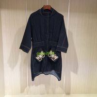 Wholesale wool jeans women online - Italian brand luxury design Women Jacket Loose Long sleeve dress shirt coat Outerwear Jeans Denim skirt top blouse with candy rivets pearl