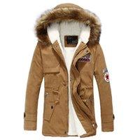 polar parka kadınlar toptan satış-Faux Kürk Yaka Pamuk Parkas Ceket Erkekler Kadınlar Polar Kalın Sıcak Ordu Ceket Ceketler Parka Artı Boyutu 4XL 2018 Kış