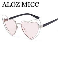 Wholesale Vintage Heart Shaped Glasses - ALOZ MICC Sunglass 2018 Heart Shaped Sunglasses Vintage Love Women Sun Glasses UV400 Goggles Metal Frame Oculos de sol A441