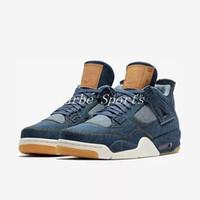 zapatos de baloncesto aaa al por mayor-Con la caja original Levi's x Nike Air Jordan 4 Denim LS Jeans Travis All Black Basketball Shoes Men 4s Blue Jeans Sneakers AAA Calidad tamaño 7-13