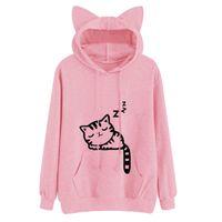 kedi kapüşonlu eşofman toptan satış-2018 Kawaii Kedi Kulak Hoodies Kadınlar Sevimli Karikatür Uyku Kedi Baskı Kapüşonlu Sweatshirt Rahat Gevşek Kazak Eşofman Kabanlar
