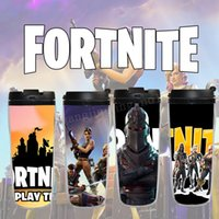 Wholesale girls cosplay - 84 colors Fortnite Cosplay cup proximity double layer plastic cup removable printing cup for boys and girls 400ML MMA171