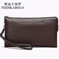 Wholesale Large Leather Clutch Bags - FEIDIKABOLO Luxury Leather Long Wallet Men Pruse Male Clutch Wallets Handy Bags Large Capacity Carteras Mujer Zipper Wallets
