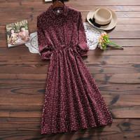 vestido floral de manga larga rojo al por mayor-Otoño invierno Vestido de pana Nueva moda mujer manga larga Estampado floral Vestidos vintage Dama azul, Vestidos de flores rojas