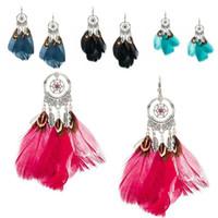 dreamcatcher indisch großhandel-Grün Rot Blau Schwarz Mehrfarben Dreamcatcher Feder Ohrringe Indischer Traumfänger Schmuck Zubehör Modeschmuck Freies Verschiffen