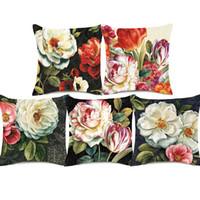 pintura peonies aceite al por mayor-Pintura al óleo de la vendimia europea Floral Art Cojín Camellia Tulip Peony China Funda de cojín de la flor de Rose Funda de almohada de algodón de lino