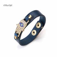 Wholesale Evil Eye Amulets - whole saleEvil eye new amulet bracele PU leather Bracelet Zinc Alloy Evil Eye Hamsa Pendent Bracelet For Men Women Fashion Jewelry 1pc