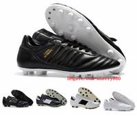 erkek futbol ayakkabıları bot futbol toptan satış-Erkek Copa Mundial Deri FG Futbol Ayakkabıları İndirim Futbol Cleats 2015 Dünya Kupası Futbol Çizmeler Boyutu 39-45 Siyah Beyaz Turuncu botines futbol
