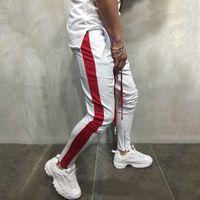 fermuar harem t-shirt erkek toptan satış-Erkek Casual Spor Harem Sıska Pantolon Spor Dipleri Erkekler Hip Hop Fermuar Parça Pantolon Pantolon Jogging Yapan Sweatpants Artı Boyutu