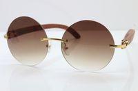 ahşap erkek bayan güneş gözlüğü toptan satış-Sıcak Rimless 3524012 Ahşap Yuvarlak Güneş gözlüğü Erkekler Kadınlar Marka tasarımcı Kesme Mercek Ahşap Kesme Mercek Gözlük Çerçevesi 18K Altın Kahverengi Lens Oyma