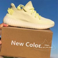 Wholesale lemon fabric - Top quality new ice yellow lemon mens shoes sply 350 Boost 350 v2 blue tint sneakers sup women mens designer shoes Casual Shoes