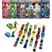 Wholesale Mini Box Watches - 144pcs lot NINJA minifigures Super hero ninja mini Building blocks Original box Watch Bricks Compatible lepines Toys for children gift