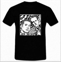 ingrosso arte popolare americana-Paul Simon and Art Garfunkel Duo folk rock americano Camicia nera e bianca S-2XL