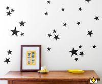 ingrosso bastone pareti vivaio-Adesivi murali stelle decalcomanie (39 decalcomanie) Adesivi murali removibili per pareti per bambini