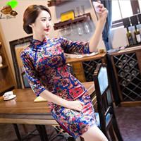 ingrosso velluto porcellana-Vestito da Qipao di seta di velluto corto di seta cinese cheongsam corto Vestito orientale cinese tradizionale cheongsam della Cina