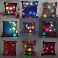 kissen leuchten großhandel-45 cm Leuchten Kissenbezug Führte Frohe Weihnachten Glow Throw Led Licht Kissenbezug Super Weiche Kissenbezug Kissen Kissenbezug c233