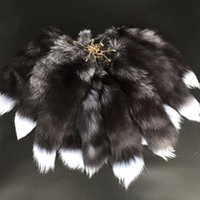 """Wholesale blue tail cosplay - 10pcs 16""""-100% Real Genuine Silver Blue Fox Fur Tail Cosplay Toy Keychain keyring Handbag Accessory"""