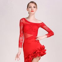 ingrosso top costumi latini-2018 nuove Rose Women Waltz Ballroom Latin Dance top tango salsa Latin Dance Costume Body per adulti da indossare
