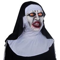 media máscara de látex al por mayor-50 unids venta al por mayor 2018 The Nun Horror Máscara Cosplay Valak Scary Half Face Máscaras de látex Casco Fiesta de Halloween Apoyos DropShipping