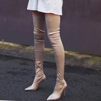 chaussures d'hiver à talons hauts achat en gros de-Sur les genoux Stretch Tissu Bottes d'hiver Femmes 2018 Bout pointu sexy à talons hauts Chaussures femmes Chaussettes européennes Cuissardes Bottes