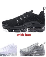 Wholesale men running shoes free shipping resale online - 2018 tn plus triple black running shoes tn sneaker best quality with box fashion man and women shoes size