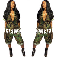 Wholesale woman fancy - American Hot Women Fancy Camouflage Print Rompers Women Jumpsuit V Neck Bodysuit Women Overalls