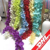 renkli çiçek yaprakları toptan satış-Yapay Çelenk Ipek Ortanca Düğün Çiçekler Yüksek Yoğunluklu Çiçek Taç Dize Düğün Süslemeleri Parti Malzemeleri Karışık Renk Toptan