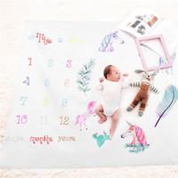 teppich mädchen großhandel-Fotografie Prop Decke Neugeborenen Kinder Foto Teppich Wachstum Rekord Drucken Spielmatten Für Mädchen Jungen Mode Laufleistung Teppiche 19fdb jj