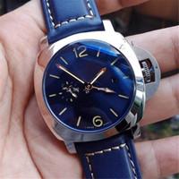 transparent mechanical watch mens 2018 - 2018 LUXURY WATCH Men's Brand AAA 316L Steel Pam688 GMT Automatic Blue Dial Transparent Caseback Men Mens Watch Watches Wristwatches
