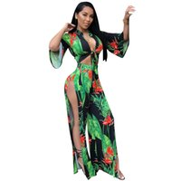 f3eac8501e0 Sexy V-Neck Two Pieces Set Women Summer High Waist Printing Beach Casual  Wear 2 Piece Wide Leg Pant Splits Outfits Womens Tracksuits Green