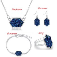 Wholesale lady ring green stone - Fashion Druzy Drusy Jewelry Sets Silver Plated Popular Faux Stone Turquoise Bracelet Earrings Necklace & Ring For Women Lady Jewelry