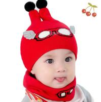 beanie baby fashion boy оптовых-Baby Boy Caps зима девушка шляпы и кольцо шарфы набор хлопок дети шапочки Cap шарф воротник детская шляпа мода мультфильм теплый костюм MZ6859